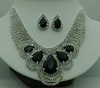 Элитные женские комплекты бижутерии. Крупное колье и серьги с кристаллами 332