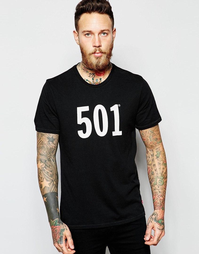 Мужская Футболка 501 черного цвета