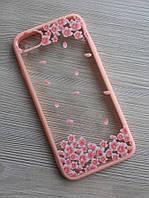 Чехол прозрачный цветы+розовый ободок силикон для IPhone 7/8
