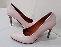 Стильные женские туфли - лодочка на шпильке из натуральной турецкой кожи Без застежки, Пудра кожа
