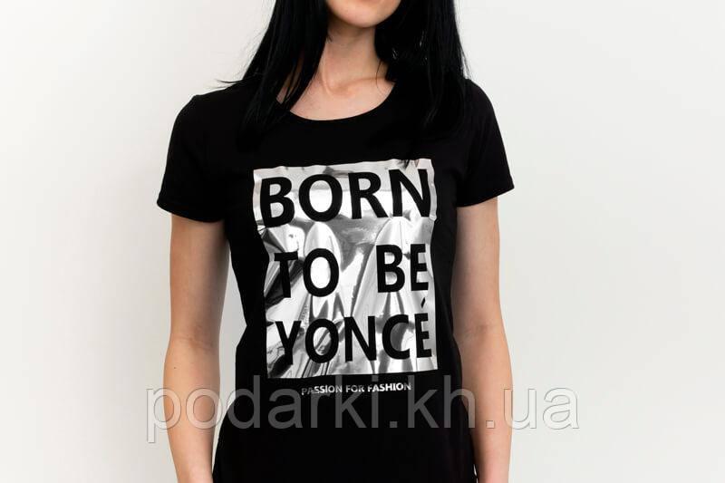 Женская футболка с блестящей надписью