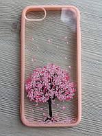 Чехол прозрачный с деревом+розовый ободок силикон для IPhone 7/8