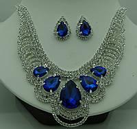 Наборы женской бижутерии с колье и серьги с кристаллами 336