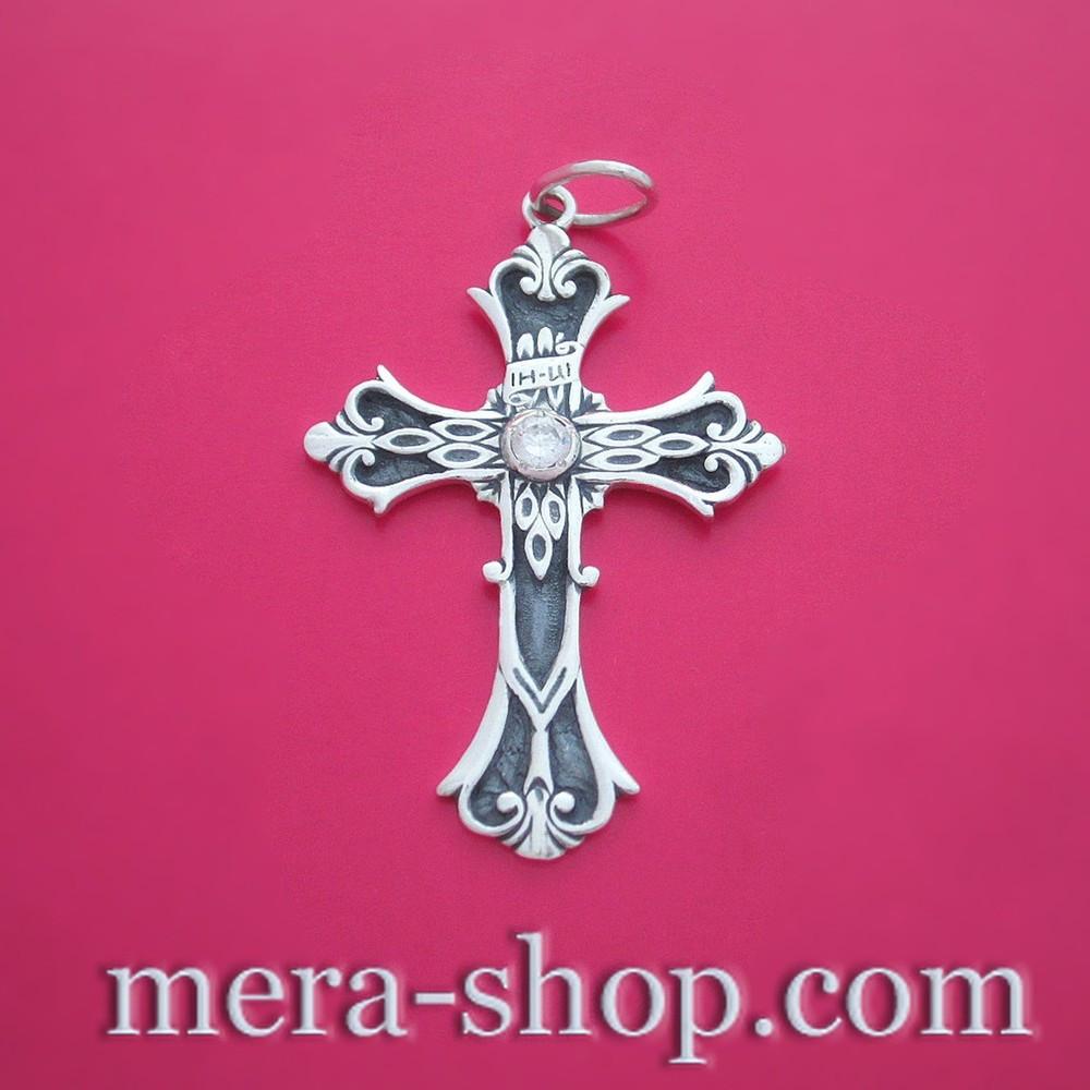 Крест нательный из серебра 925 пробы с камнем