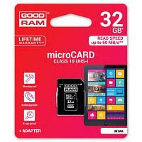 Карта памяти MicroSDHC 32Gb class 10 (SD адаптер) GoodRam UHS-I (M1AA-0320R11)
