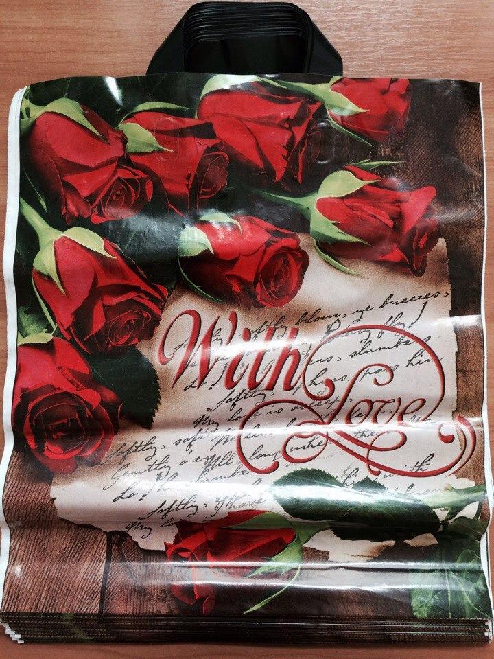 Пакет с петлевой ручкой Розы 38*43 см