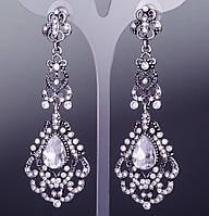 Серьги-пусеты с подвесками с белыми кристаллами(7см)