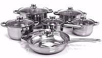 Кухонный набор посуды кастрюль (12 элементов) Metlex 8009 Польша