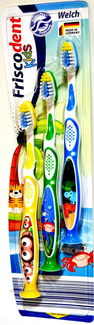 Детская зубная щетка Friscodent Kids Weich с фигурками зверей от 2 до 7 лет ( 3 шт )