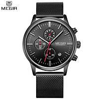 Мужские классические часы Megir Style Black B2011 , Гарантия 6 мес.