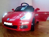 Детский электромобиль КХ1349 EBLR-3 Порше на резиновых ЕВА колёсах, сиденье кожа, красный