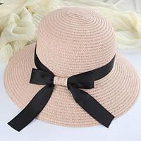 Стильная женская летняя соломенная шляпа с бантом розового цвета