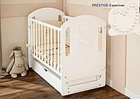 Детская кроватка Prestige 6 белая со стразами