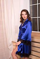 Красивые атласные халаты для дома Электрик (ярко-синий) оптом. Размеры от XS до XXL, фото 1