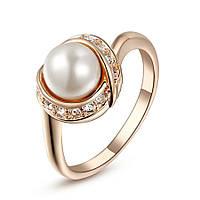 Кольцо с жемчугом позолоченное ювелирная бижутерия 738