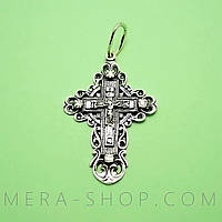 Крест нательный из серебра с камнями (кр-48)