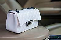 Силиконовая белая женская сумочка клатч через плече