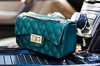 Силиконовая зеленая  женская сумочка клатч через плече
