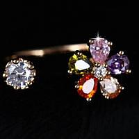 Кольцо позолоченное ювелирная бижутерия, безразмерное 743