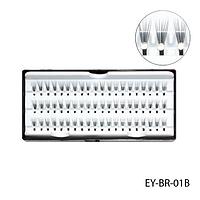 Ресницы пучковые с белыми стразами EY-BR-01B, 12 мм