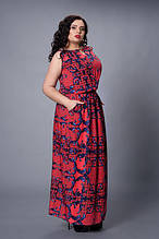 Летнее длинное в пол женское платье из штапеля с принтом р.48-54