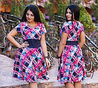 Платье из летней креп-костюмки с коротким рукавом