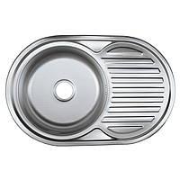 Мойка кухонная 77*50 см полированная 0,8 мм глубиной 18 см оптом