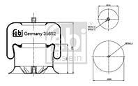 Пневмобаллон со стаканом Mercedes Actros I-III/Atego 18t->/Axor I+II 35692