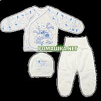 Костюмчик (комплект) на выписку р. 56 для новорожденного демисезонный ткань ИНТЕРЛОК 100% хлопок 3651 Голубой