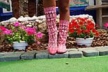 Летние ажурные розовые сапожки из гипюра, фото 2