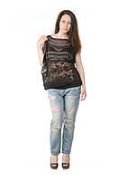 Женская черная шифоновая блуза с провязом Lafer