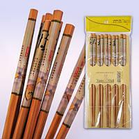 Палочки для суши и роллов  Дерево Роспись  (в наборе 5компл)