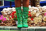 Летние стильные сапожки гипюровые зеленые, фото 2