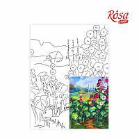 Полотно на картоні з контуром, Пейзаж №17, «Стежка додому», 30*40, бавовна, акрил, ROSA Talent