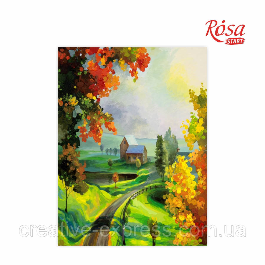 Полотно на картоні з контуром, Пейзаж №21, 30*40, бавовна, акрил, ROSA Talent