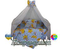 Постельное белье восемь предметов - Мишки на звездах - Синий