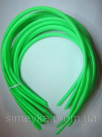 Обруч для волос пластиковый матовый простой 8 мм. Салатовый (светло-зелёный)