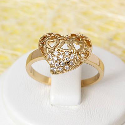 002-2481 - Позолоченное кольцо с прозрачными фианитами, 18.5 р.
