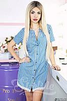Джинсовое платье-туника на пуговичках в полоску