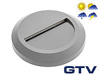 Герметичный светодиодный светильник для подсветки стен, лестниц GTV SILVER OD 2Вт 100Лм 3000K 120° IP65