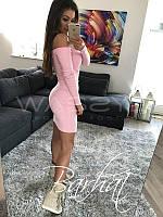 Женское облегающие трикотажное платье с открытым плечами. Ткань: трикотаж. Размер: 42-44, 44-46.