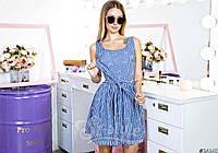 Джинсовое базовое платье с поясом и принтом