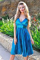 """Нарядное атласное платье на бретельках """"MQ"""" с пайетками и плиссированной юбкой (2 цвета)"""