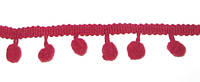 Тесьма с Помпонами 2 см, бордовая
