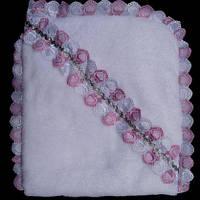 Котоновая детская крыжма белого цвета с розовыми рюшами