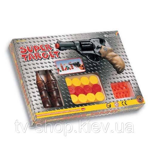 Игрушечное оружие Edison Тир - SUPER TARGET (6-зарядный револьвер, 20 пуль, мишени)