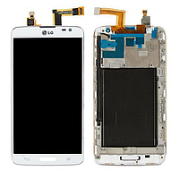 Оригинальный дисплей (модуль) + тачскрин (сенсор) с рамкой для LG G Pro Lite D680 | D682 | D684 (белый)