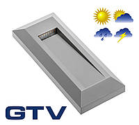 Светодиодный светильник для подсветки стен, лестниц GTV SILVER PB 1Вт 45Лм 3000K 120° IP65, прямоугольный