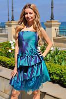 """Летнее коктейльное мини-платье на бретельках """"Сияние"""" с оборками и цветами (3 цвета)"""