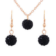 Комплект Шамбала черный/серьги и подвеска/бижутерия/цвет золото